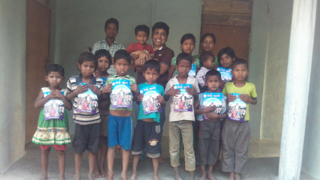 Santhal children with new books