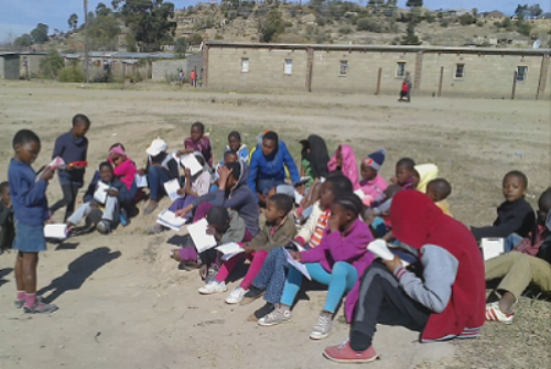 Children reviewing games in light of God's Word and principles ~ Lesotho