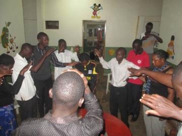 Prayer time for Missions Team - Uganda