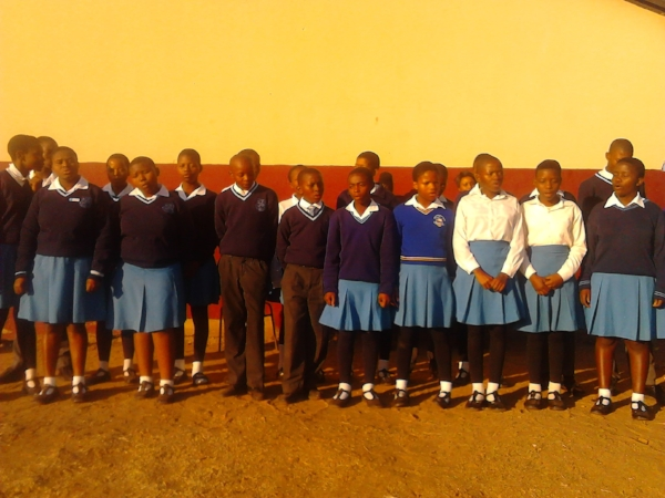 Bible Club Members Presenting a Song at a School Assembly - Swaziland