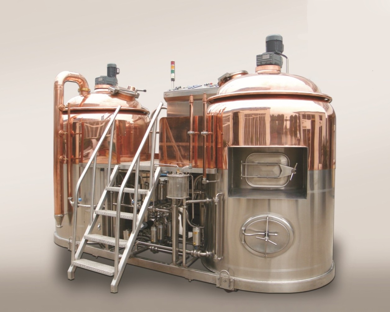 Steam Heated Brewhouse II - Model name: GEXBH-SHB-IIMain equipment:- Combi-tank- Kettle whirlpool tunDetails:- Combi-tank: The bottom of mash lauter tun is the top of hot LT- Kettle whirlpool tun: Bottom and shell jackets- Platform- Grist hydrator / Piping / Pump (Frequency control) / Single stage heat exchanger / Wort aeration device / Control box- Temperature controller- Manual valvesOptional:- Steam condensing pipe / Liquor blending system / Racking machine (Frequency control / Shell jacket for mash lauter tun / Mash mixer for mash kettle whirlpool tun (Frequency control / Pneumatic valves & button control / Spindle stationSizes:- 5BBL / 10BBL / 15BBL / 20BBL or completely custom built