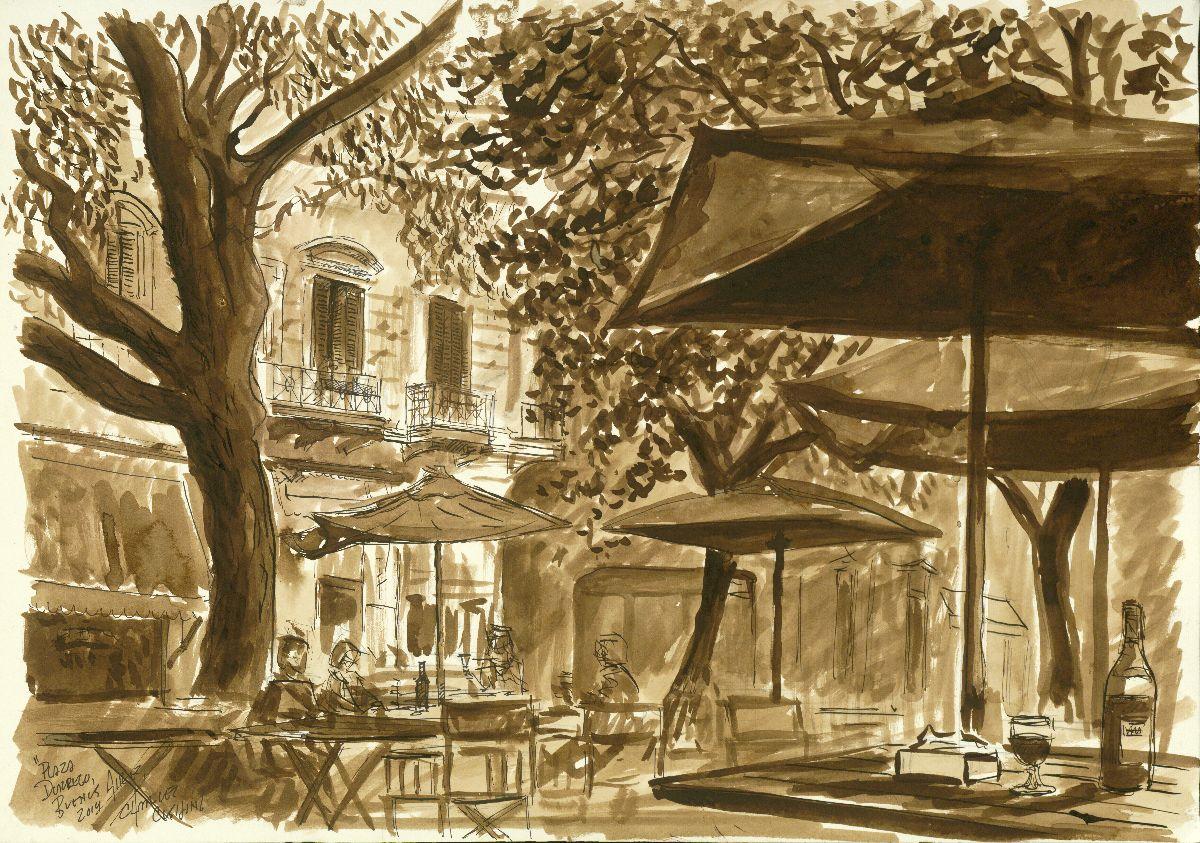 """""""Plaza Dorrego"""" 14 x 19"""" (sold)"""