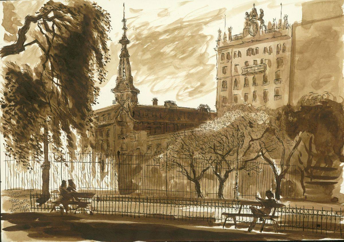 """""""Confiteria del Molino, Plaza Congreso"""" 14 x 19"""" (sold)"""