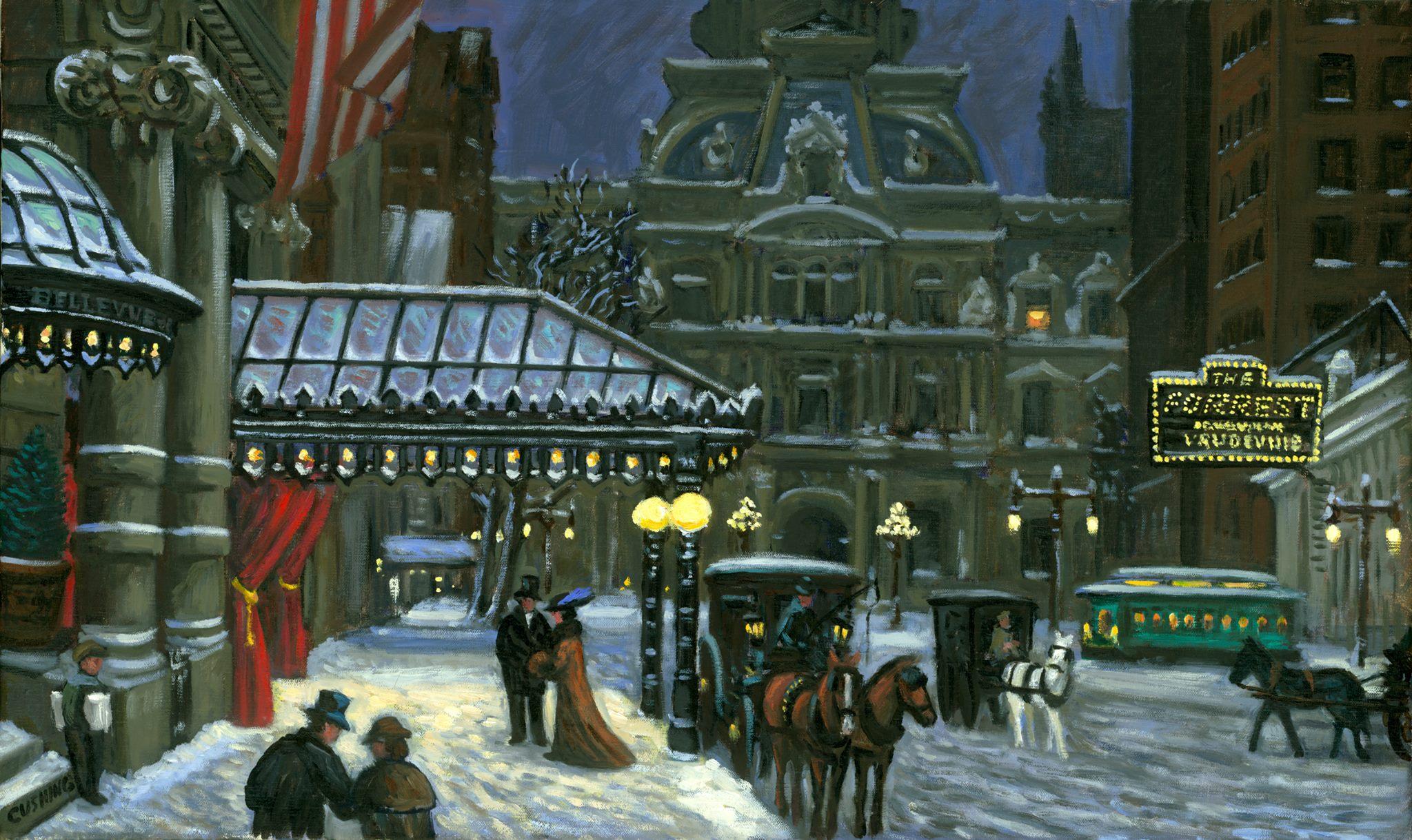 """""""Winter Evening, Bellevue-Stratford Hotel""""  18 x 30"""" (sold)"""
