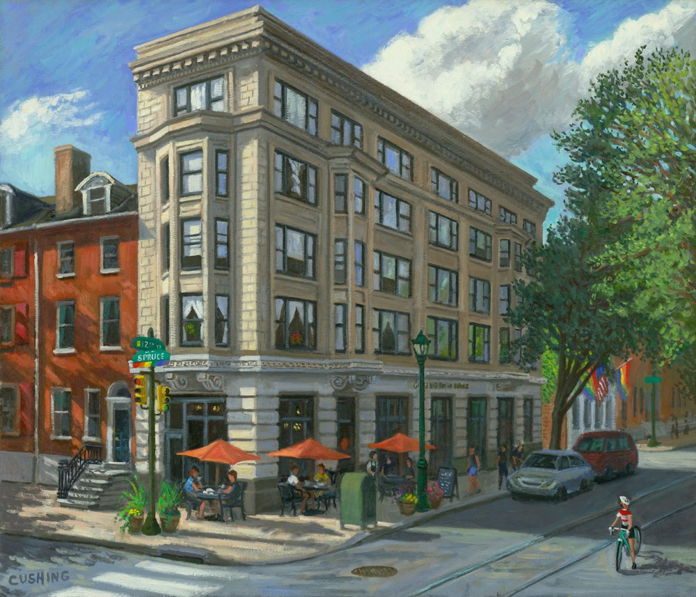 """Oddfellows Building, 12th and Spruce Streets""  28 x 34"" (sold)"