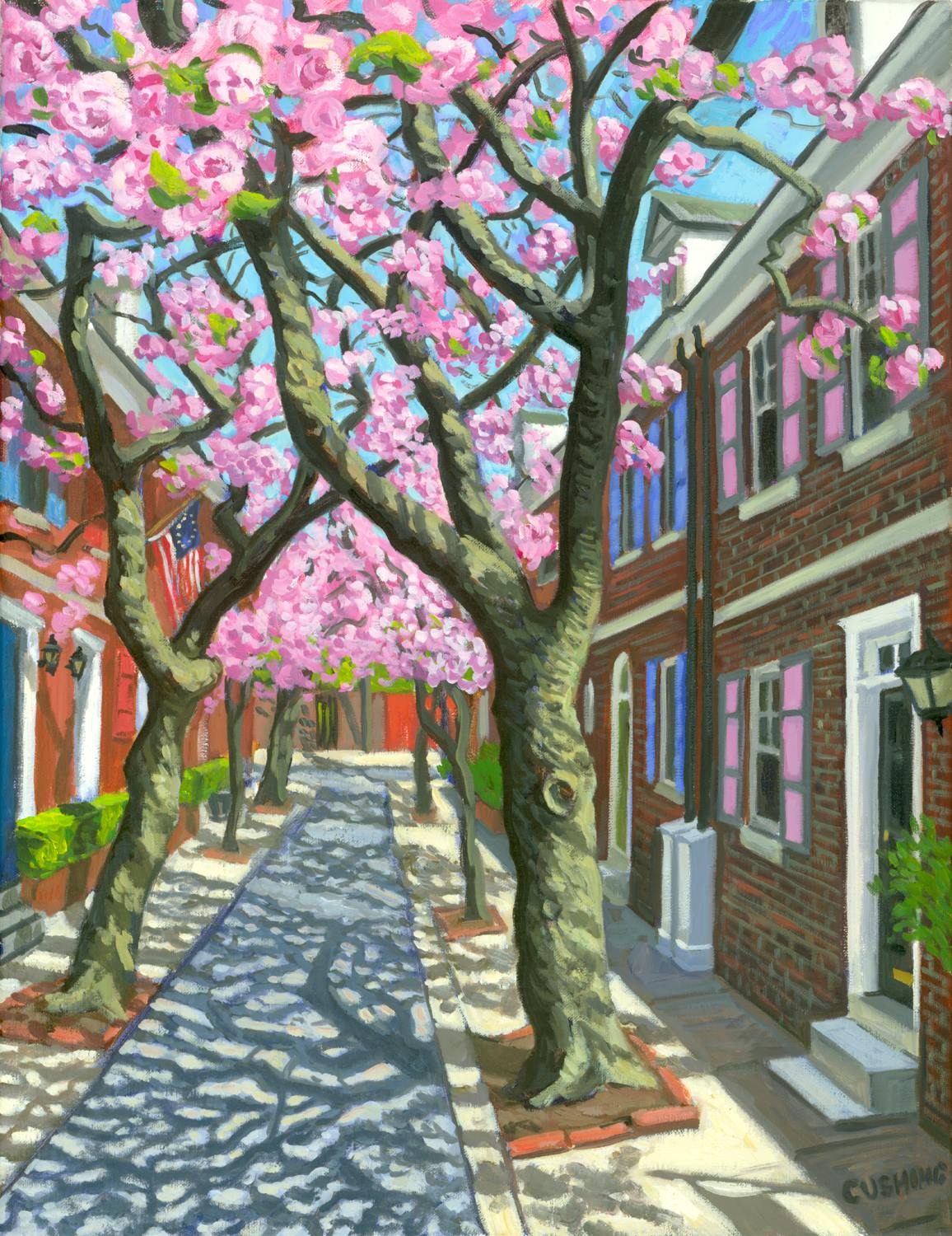 """Jessup Street House, Cherry Blossoms"" 24 x 18"""