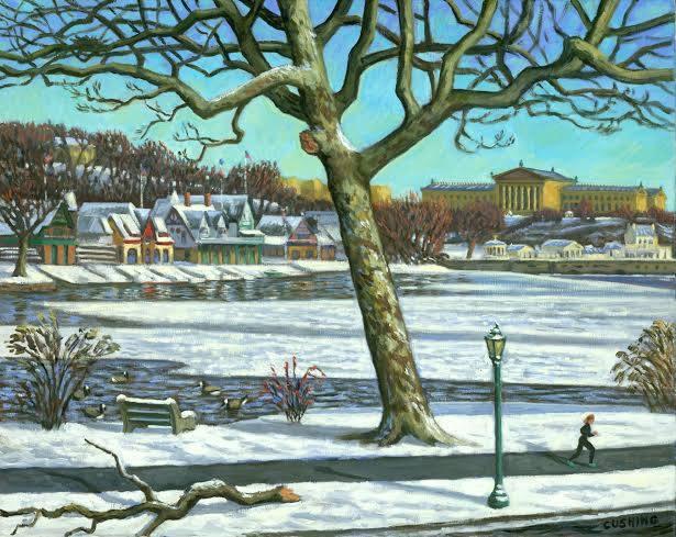 """Winter Jogger, Philadelphia"" 24 x 30"" (sold)"