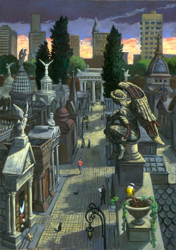 """""""Angeles en el Cementerio de la Recoleta"""" 48 x 34"""" $5500.00"""