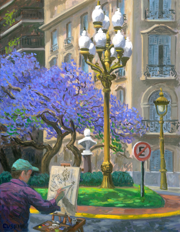 """""""Painting in la Isla de Recoleta"""" 27 x 21"""" (sold)"""