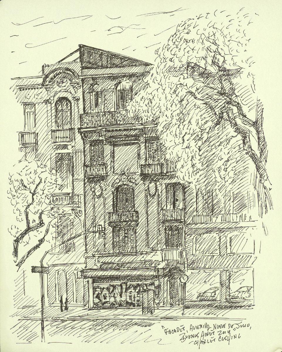 """""""Buildings on Nueve de Julio"""" 12 x 9""""  $250.00 (framed)"""