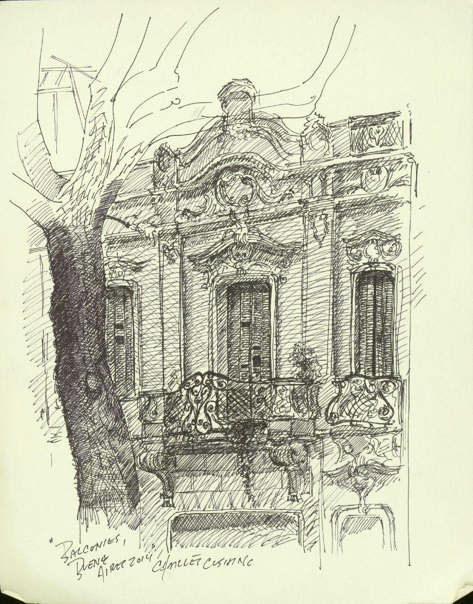 """Balcony on Nueve de Julio"" 12 x 9"" (sold)"