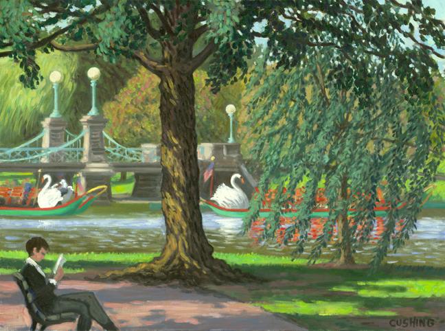 """""""Reader in Boston Public Garden""""  24 x 32""""  $2,500.00"""