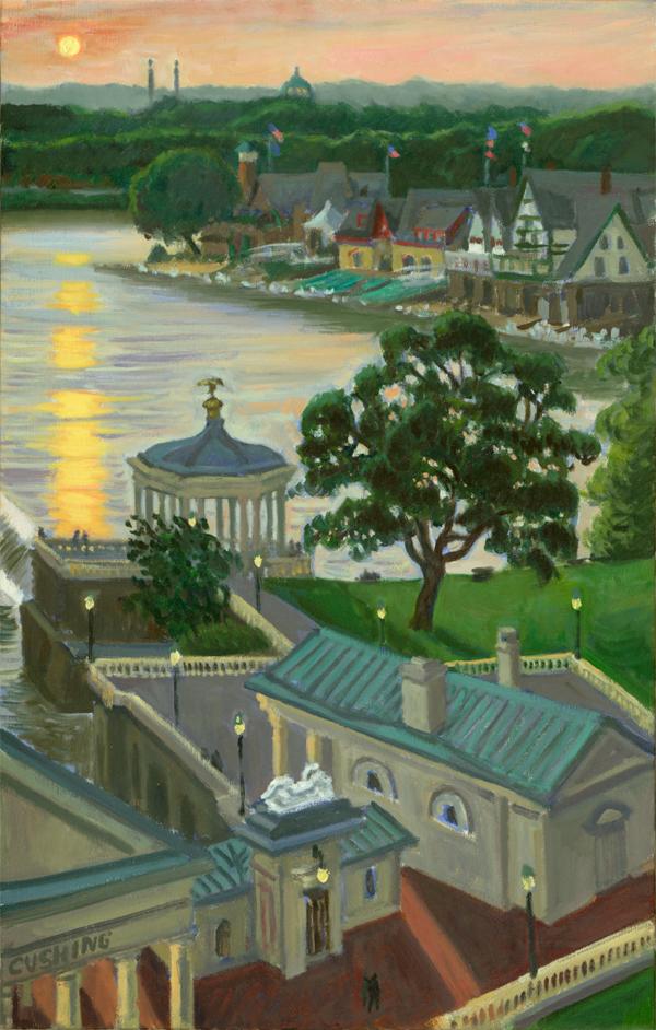 """Sunset, Boathouses""  30 x 18"" (sold)"
