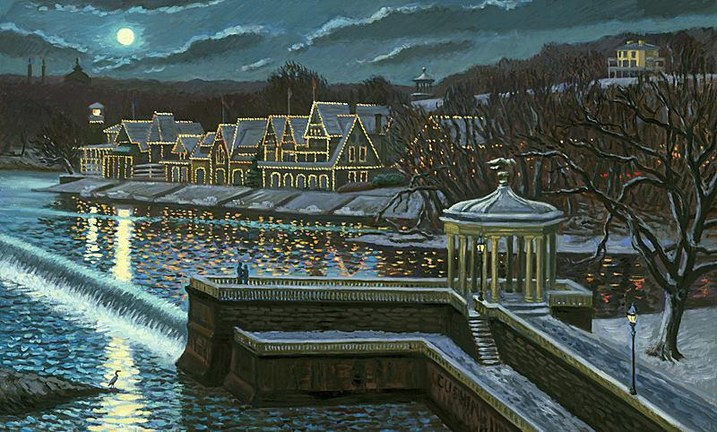 """""""Winter Moon Over Boathouse Row""""  24 x 36"""" (sold)"""