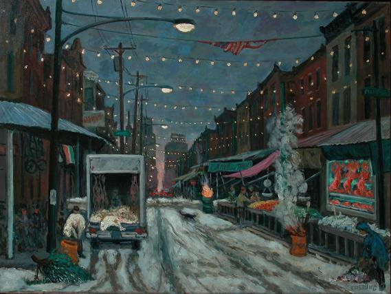 """Winter, Italian Market""  30 x 36"" (sold)"