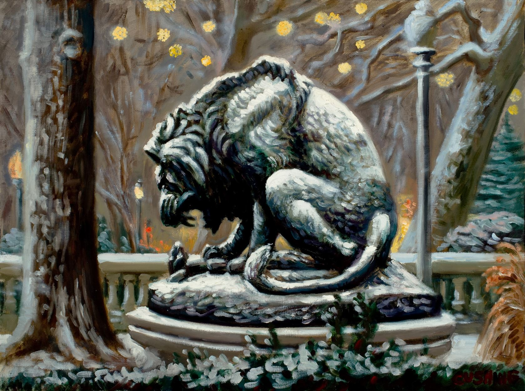 """""""Lion with Lights, Rittenhouse Square""""  16 x 20"""" (sold)"""""""