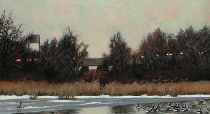 """""""Decemeber Ice, Tinicum Marsh""""  32 x 56"""" (sold)"""