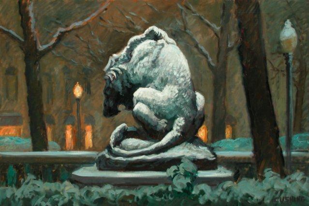 """Snow Lion, Rittenhouse Square""  16 x 30"" (sold)"