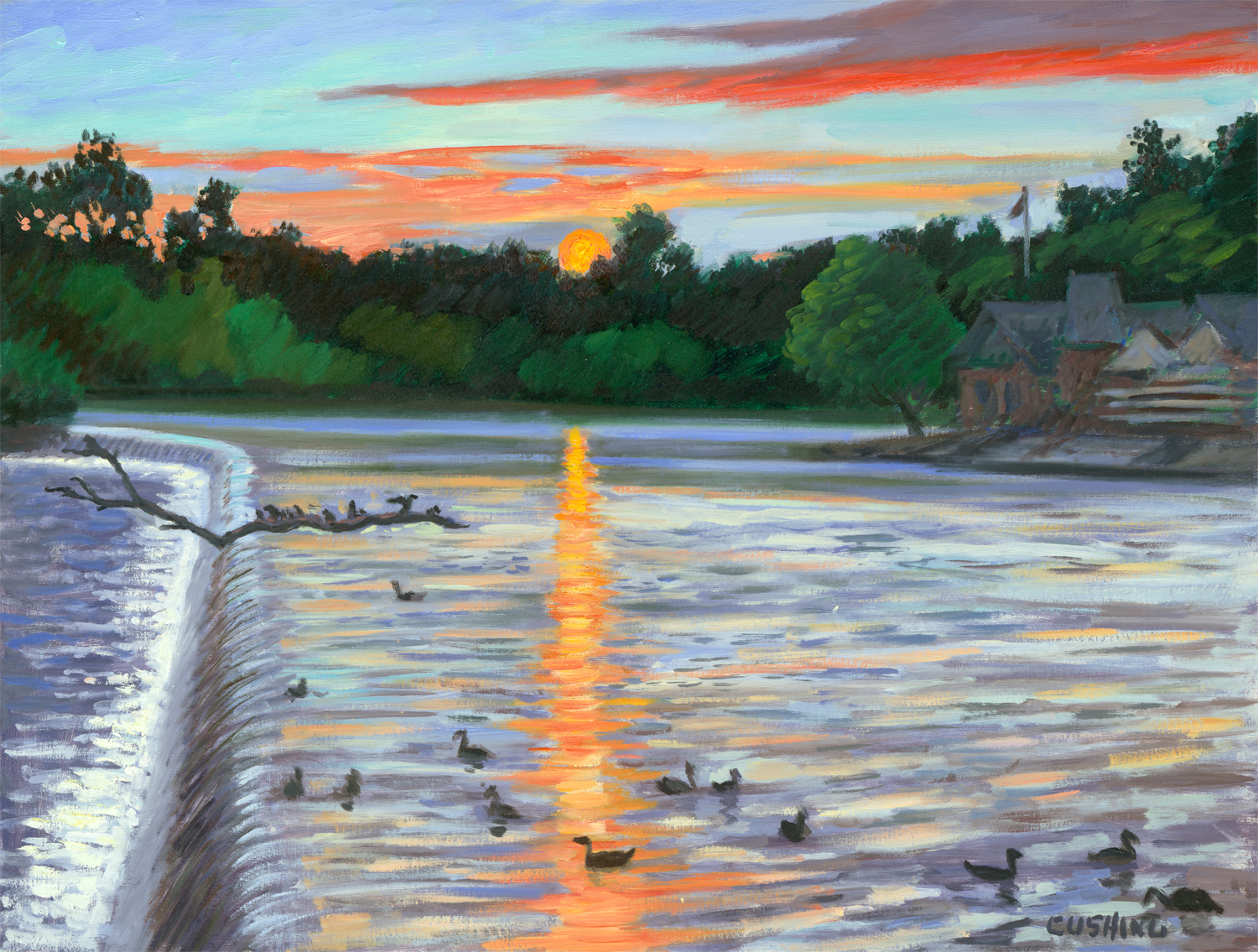 """""""Schuylkill River Sunset""""  24 x 30"""" (sold)"""