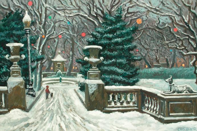 """""""Winter, Rittehouse Square"""" 20 x 32"""" (sold)"""