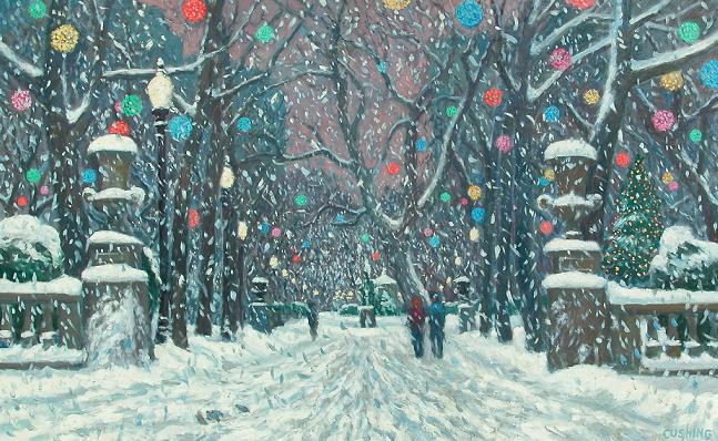 """""""Colored Lights, Rittenhouse Square""""  24 x 36"""" (sold)"""
