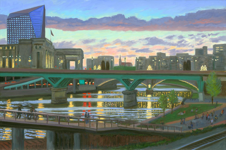 """Schuylkill Bridges and Lights""  20 x 30"""