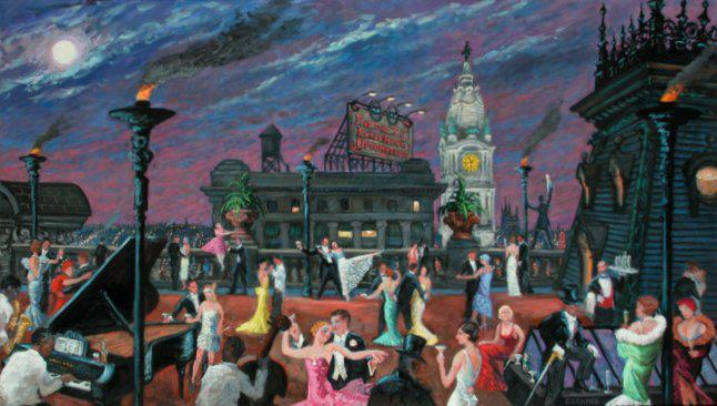 """Dancing on the Roof, Bellevue-Stratford Hotel""  36 x 72"" (sold)"