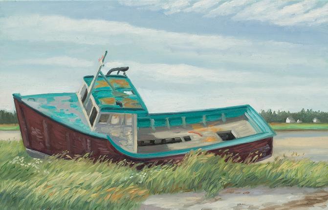"""Old Boat, sable Island, Nova Scotia"" 18 x 32""  (sold)"