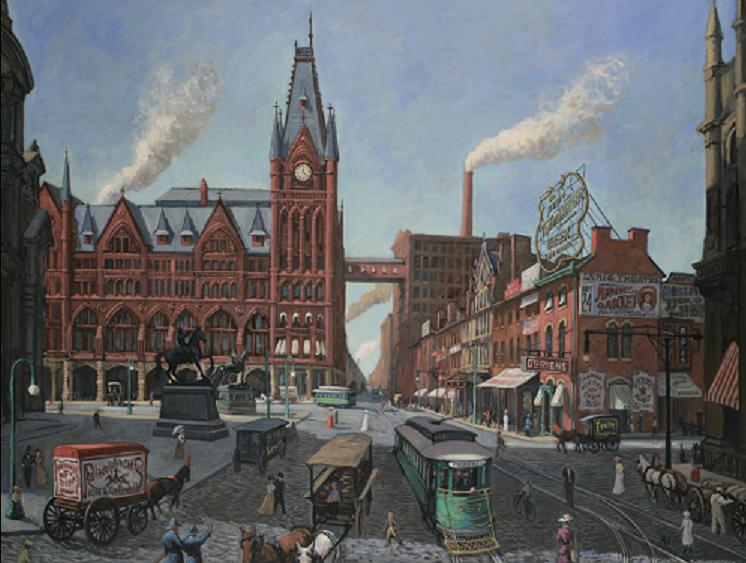 """Broad Street Station , Circa 1900"" 60 x 72"" (sold)"
