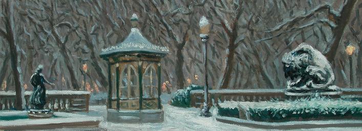 """""""Snow, Rittenhouse Square""""  10 x 30"""" (sold)"""