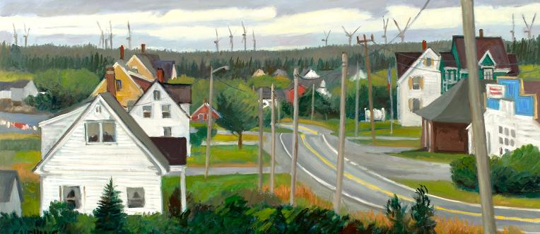 """Windmills, Pubnico, Nova Scotia"" 18 x 40"" (sold)"