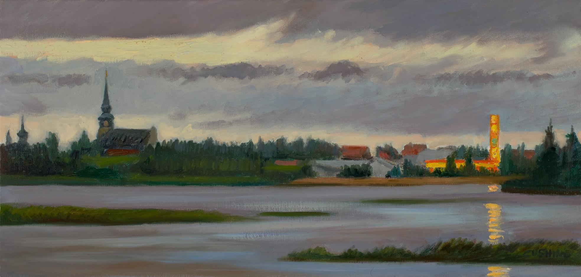 painted from life on a midsummer evening near Kemijarvi, Finland in 2008.....