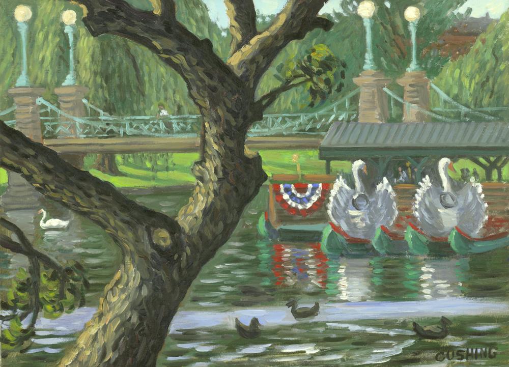 """Three Swans, Boston Public Garden""  18 x 24"" (sold)"