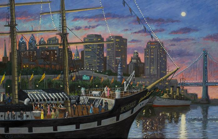 """wedding Party on the MOSHULU""  24 x 36"" (sold)"
