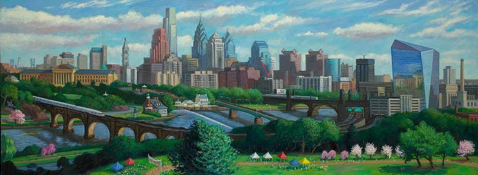 """Philadelphia Skyline with Cira Centre""  36 x 96"" (sold)"