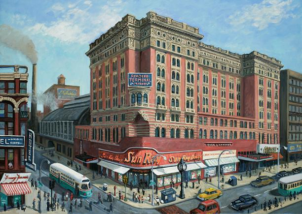 """""""Reading Terminal in the 1950""""s""""  32 x 50"""" (sold)"""