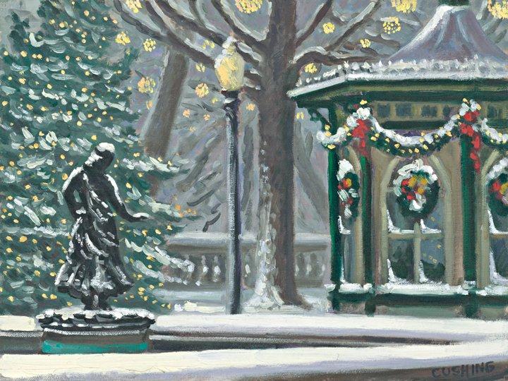 """""""Rittenhouse Gazebo at Christmas"""" 16 x 20"""" (sold)"""