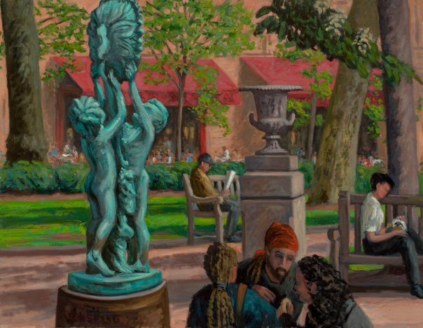 """Sundial, Figures, Rittenhouse Square""  24 x 30"" (sold)"