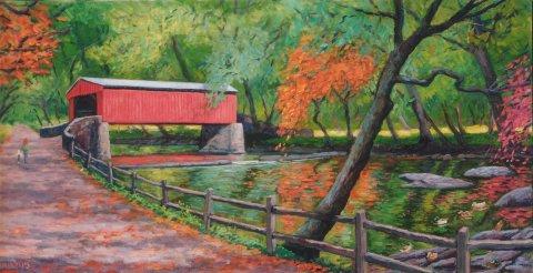"""Covered Bridge, Wissahickon Creek""  24 x 40"" (sold)"