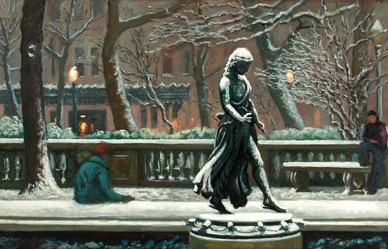 """""""the Duck Girl in Winter""""  32 x 50"""" (sold)"""