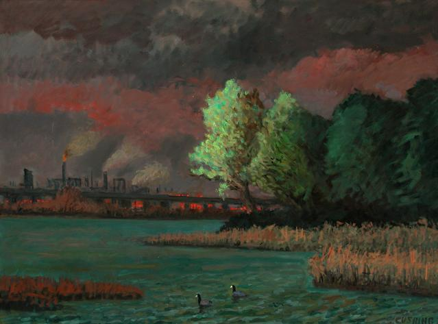 """Coots, Tinicum Marsh"" 36 x 48"" (sold)"