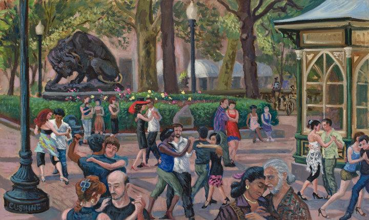 """Tango Dancers, Rittenhouse Square""  24 x 36"" (sold)"