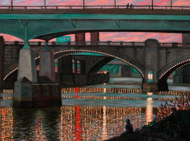 """Bridges and Lights""  30 x 36"" (sold)"