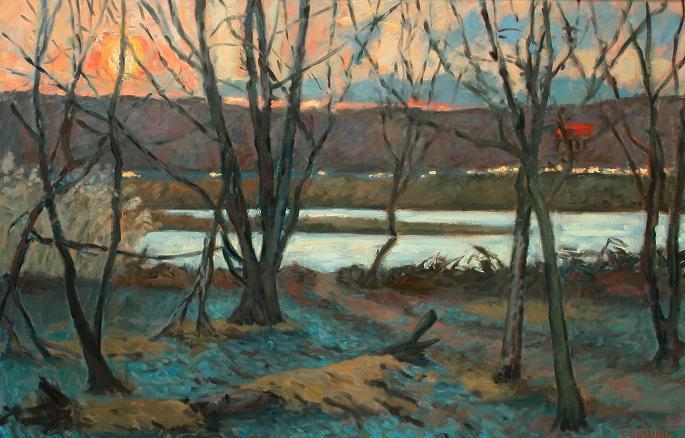 """Blue Leaves, Tinicum Marsh""  32 x 56"" (sold)"