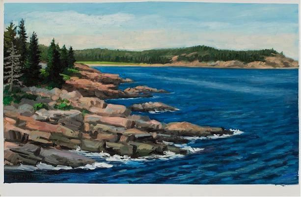 """Rocky Coastline, Acadia National Park""  oil on paper 22 x 38""  (sold)"