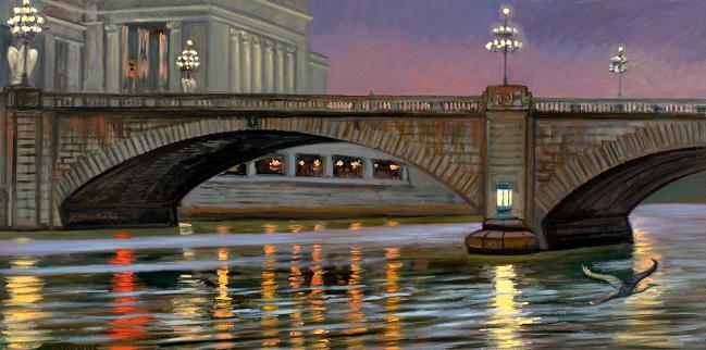"""Bridges and Lights""  24 x 48"" (sold)"