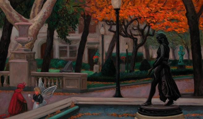 """Halloween, Rittenhouse Square""  18 x 36"" (sold)"