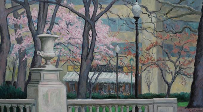 """Urn and Magnolia, Rittenhouse Square""  18 x 32"" (sold)"