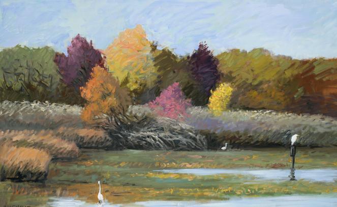 """Egrets, and Heron, Tinicum Marsh""  32 x 50"" $1750.00"
