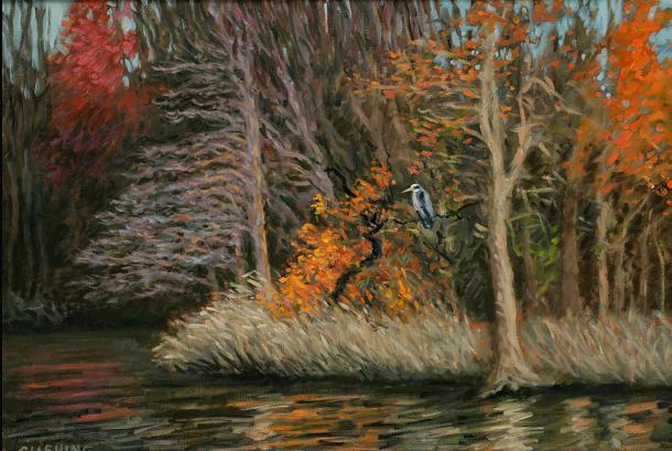 """Heron in Tree, Tinicum Marsh""  18 x 24"" (sold)"